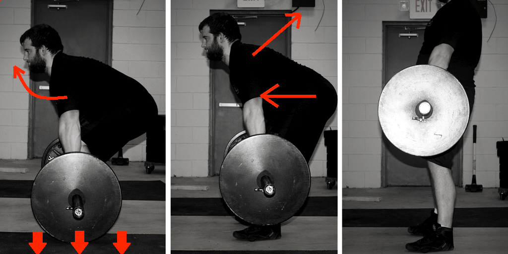 Off the floor: chest up and drive the floor away. As the bar approaches the knee: shoulders back, hips forward.