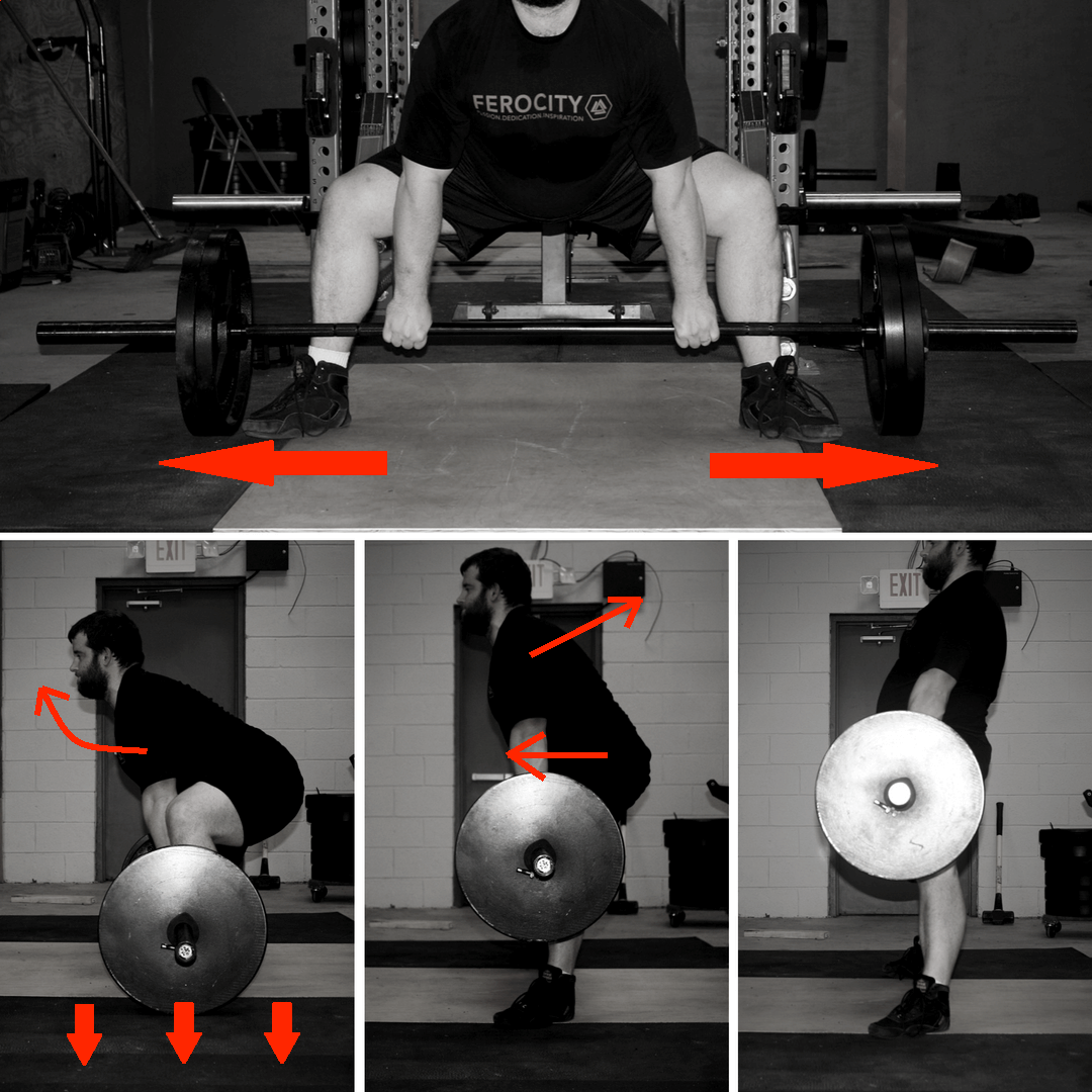 "Similar cues to the conventional deadlift, with the addition of ""rip the floor in half"" as you start the lift."