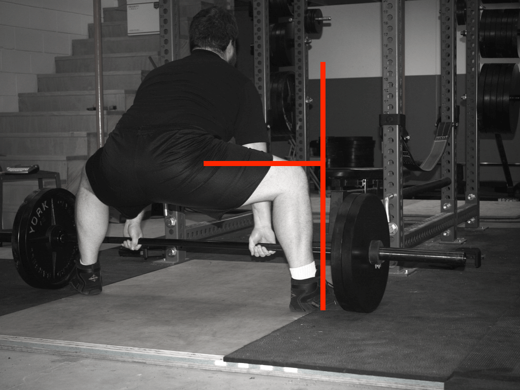 This picture was taken roughly perpendicular to my femur. This gives you a better idea of the hip extension moment arm in the sumo deadlift.